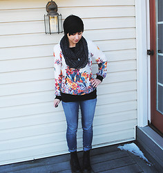 Sabrina B - Frontrowshop Floral Pullover, Free People Jeans, Dr. Martens Black Docs - Spring Outfit in Winter