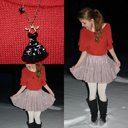 Chelsey Knuth - Orange Thai Earrings, Betsey Johnson Dress Necklace, Goodwill Orange Ruffle Shirt, Forever 21 Lavender Lace Skirt, Forever 21 White Opaque Tights, Blowfish Black Knee High Boots - Trials and Tribulations