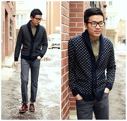 C. L. - J. Crew Cowl Neck Cardigan, Marshall Artist Corduroy Shirt, Uniqlo Cotton Pants, Mr. B's Lace Up Shoes - Cowl Neck