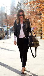 Alexandra G. - Walter Baker Quilted Leather Jacket, Joe Fresh Ruffled Silk Blouse, Forever 21 Skinny Jeans, Sole Society Leopard Print Pumps, Sole Society Tote - Classic Black and White