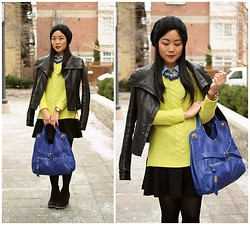 Kristania Petra - Mackage Leather Jacket, Joe Fresh Cableknit Sweater, Joe Fresh Bubble Necklace, Foley & Corinna Jet Set Tote, Old Navy Ponte Skirt, Old Navy Faux Suede Booties - Life Opens Up When You Do