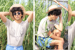 Austin Sullivan - Vintage Straw Hat, Urban Outfitters Glasses, French Connection Uk Deer Skull Tee, American Apparel Kool Shorts - F I E L D mouse