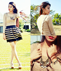 Marjh Collado - Lace Long Sleeve Top, Elaisa Feathers & Pearls Necklace, Leather Stripes Skirt - Down-to-Gaia