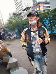 Hideki Joshua - Oriental Chrysanthemum Flower Cap, Ed Hardy Tattoo Sunglasses, Skull & Crossbones Leopard Fur Belt, Japanese Koi Embroidered Tattoo Jacket, Glitter Skull Long Top, Ripped Paint Splashed Light Denim, Soulfetish Silver Biker Necklace, Surgical Mask, Camouflage, Dreamcatcher - Tokyo Skulls