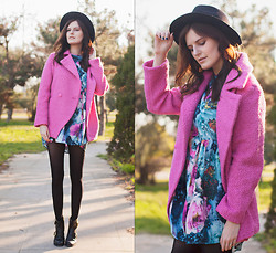 Viktoriya Sener - Sheinside Pink Coat, Sheinside Printed Dress - PINK COAT