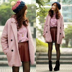 Prisca E. - Choies Pink Coat, Sheinside Cats Shirt, Pink Blue Beige Beanie - Pink Winter