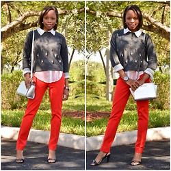 Charnele Michel - Banana Republic Pants, Zara Sweater, Forever 21 Button Down Shirt, Michael Kors Crossbody Purse - Jeweled Accents