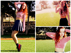 S.t.e.f.f.i.e - Ebay Red Creepers, Forever 21 Blue Skirt, Forever 21 Cropped Top, Blue Socks - Red, white blue is in the sky