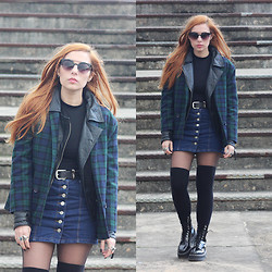 Cátia Gonçalves - Choies Denim Skirt, Vintage Tartan Jacket, Pull & Bear Leather Jacket, Dr. Martens Chunky Boots, Primark High Knee Socks, Zara Belt, Lefties Cropped Sweater - One day maybe we will dance again under fiery skies
