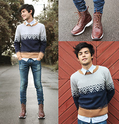 Vini Uehara - Guidomaggi Shoes, Choies Men's Brown Vintage Knit Jumper, Rum Jungle Jeans - After The Rain