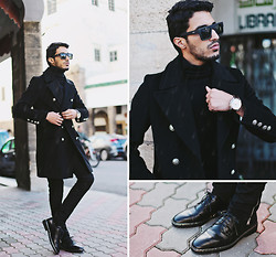 Mohcine Aoki - Quayeyewear, Fashops Black Coat, Zara, Zara, Raf Simons Chain Shoes, Gc Watches - NOW & FOREVER MORE..