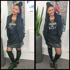 Khanyi L Ndlovu - Zara Leather Panel Skirt, Pull & Bear Black Bomber Jacket With Leather Sleeves - All Black Street