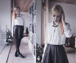 Chiara Cacciani - Primark White Shirt, River Island Leather Skirt, Dr. Martens - Continuously