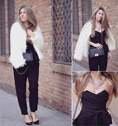 Mónica Sors - Uve Moda Fur Jacket, Asos Jumpsuit, Happiness Boutique Necklace, Chanel Bag - One piece