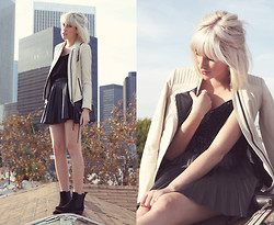 Dani Roxanne - Zara White Leather Jacket, H&M Leather Pleated Skirt, Topshop Velvet Daisy Tank - B&W Leather Love