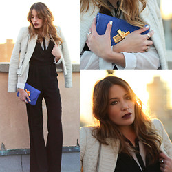 Lauren G. - Bcbg Alton White Moto Jacket, Deux Lux Double Cross Blue Clutch, Greylin Black Wide Leg Jumpsuit, Asos Contrast Collar Blouse - Informally Formal