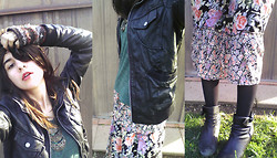 Amanda Parriott - Xhilaration Faux Leather Jacket, Forever 21 Necklace, Kirra Top, Forever 21 Flowered Dress, Target Opaque Tights, Antia Booties - Soak Up The Sun