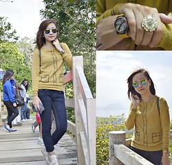 Anne Villegas - Xoxo Flower Ring, Thewearhouseph Vintage Mustard Watch, Forever 21 Tri Color Aviators, Skechers Hidden Wedges - Act Naturally