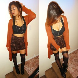 Yessenia L. - Urban Outfitters Long Open Cardigan, Cotton On Leopard Skirt, Ebay Lace Thigh Highs, Wet Seal Black Heeled Combat Boots, Forever 21 Silver Chain Necklace, Motel Rocks Black Caged Crop Top - Do what you want..