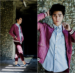 Romar Santoyo - Topman Quilted Jacket, Topman Denim Long Sleeved Shirt, Uniqlo Oxblood Trousers, Adidas Neo Label - Varsity.