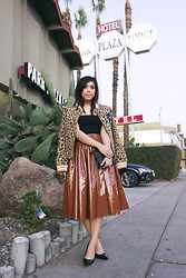 Yuka I. - Wesc Jacket, American Apparel Top, H&M Patent Leather Skirt, Diane Von Furstenberg Pumps - Plaza
