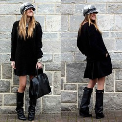 Rebel Attitude - Frontrowshop Dress, Choies Boots - Grey cap