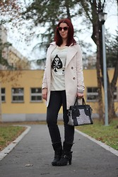 Milica Venoma - Wholecelebshades Sunglasses, Jollychic Shirt, Miss Sixty Jeans, Yeswalker Boots, Rock With U Bag, Sheinside Trech Coat - Ace of spades