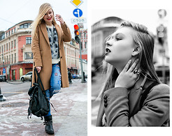 Lena Ushakova - Stefanel Coat, Zara Backpack, Asos Rings, 33f Sweater - Did you forget to take your meds?
