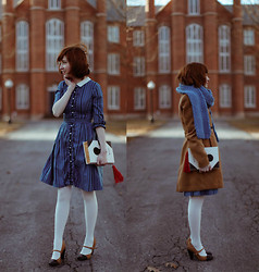 The Clothes Horse R - Camel Coat, Vintage Dress, White Tights, Seychelles Heels - The Twisting Schoolgirl