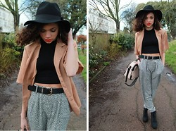 Charnelle Gardiner - Frontrowshop Crop Top, Charity Shop Vintage Jacket, River Island Tapered Trousers, Romwe Vintage Hat, New Look Bowler Bag, New Look Suede Boots - Retro
