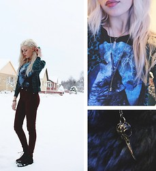 Nymphaea H - Saints & Mortals Wolf Shirt, Now & Then Red Velvet Pants, Platform Shoes, Turquoise Ring, Pink Crystal, Tinker Tailor Silver Bird Skull, Divided Turquoise Lepard Print Cardigan - The North Remembers