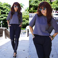 Priscila Diniz - Choies Grey Top, Frontrowshop Black Pants - Revisited classic