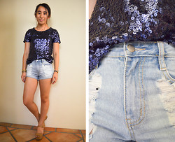 Jing S. - H&M Sequin T Shirt, One Teaspoon Distressed Denim Cut Offs - Casual Sequins