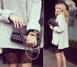 Silvia P. - Zara Knit, Chanel Purse, Zara Dress - Grey