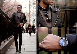 Filippo Fiora - Tod's Boots, Hamilton Watch, Asos Sunnies, Uniqlo Sweater, Boglioli Pants, Asos Jacket, Uniqlo Shirt - NEW YORK CITY