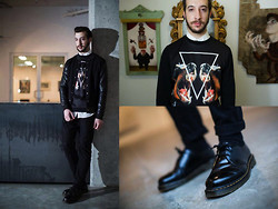 Nicolas Bg - Topman Dog Sweater, Bedo Leather Jacket, Dr. Martens Boots - Woof Woof!