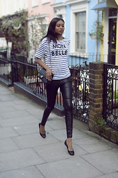 Natasha N - T Shirt, Leather Leggings, Ballet Flats - Mon Belle