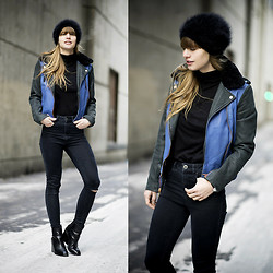Lisa Dengler - Eleven Paris Colourblocked Leather Jacket, Asos High Waisted Skinny Jeans - BLACK&BLUE