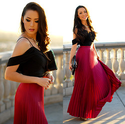 Jessica R. - Theory Black Crop Top, Lulus Pleated Magenta Skirt, Chic And Shine Spike Necklace - Once Upon a Time