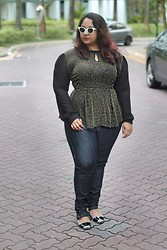 Aarti Olivia - Forever 21 Chiffon Sleeved Peplum Top, Asos High Waisted Dark Skinny Jeans, Asos Cat Eye Shades - Long sleeved peplum