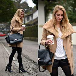 Vanessa Ciliberto - Bershka Coat, Chic Wish Bag - Leather shorts and camel coat