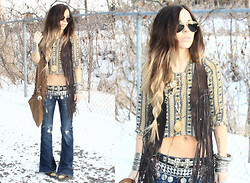 Katia Nikolajew - Bewolf Clothing Fringe Vest, Bewolf Clothing Fringe Bag, Bewolf Clothing Coin Belt, Urban Outfitters Cowboy Boots - Side Braided...