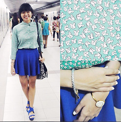 Erika R. - Uniqlo Squirrel Buttondown, Cobalt Blue Skater Skirt, Silver Cord Bracelet With Gold Heart, Cotton On Cobalt Blue Wedges, Gucci Watch With Interchangeable Crown, Forever 21 Aztec Print Bag - Squirrel!