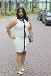 Aarti Olivia - River Island Sleeveless White Bodycon Dress With Front Zipper, Asos Eco Clutch - White bodycon