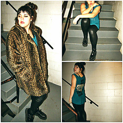 Taylor Morgan - Thrifted/Vintage Leopard Print Fur Coat, Gloss Black Leather Leggings, Tuk Black Creepers, Gloss Blue Sheer Cross Cut Out Tunic - Synecdoche, New York