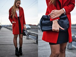 Layla .D - Zara Coat, Zara Bag, Daisy Street Shoes - Red coat