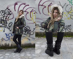 Mary Kapsi - Coat, Ankle Boots - Camouflage and studs
