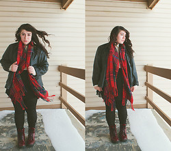 Katie - Oversized Faux Leather Jacket, Tartan Scarf, H&M Blouse, Boots - Many Among Us