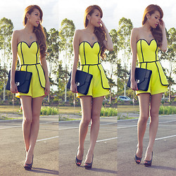 Debbie K - Honey Peaches Yellow Playsuit, Honey Peaches Black Bag, Ice Black Heels - Passion Pop: Black & Yellow