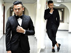Paul Ramos - H&M Black Suit, Iconic Tassel Loafers, Guess? Rose Pin - Suit & Tie at 26
